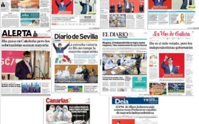 EFE se emplea a fondo en ser testigo presencial y copa portadas en las elecciones catalanas