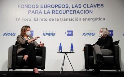 Ribera dice que el plan de recuperación es una oportunidad para todo tipo de empresas, en un conversatorio con la presidenta de EFE